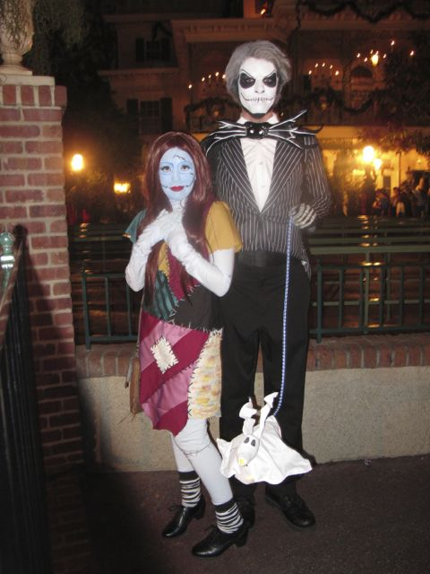 fantastic sally jack zero costumes in front of us in the haunted mansion line