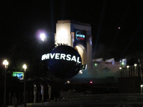 Universal globe at night