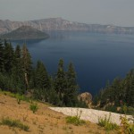 Crater Lake in the smoky haze with snow