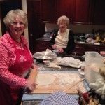 Mother & daughter making lefse