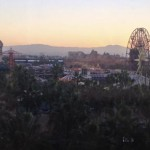 Sunrise over California Adventure from our room at Paradise Pier